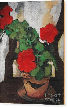 Red Geranium Wood Print by Mona Edulesco