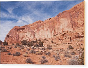 Red Rock And Blue Skies Wood Print by Bob and Nancy Kendrick