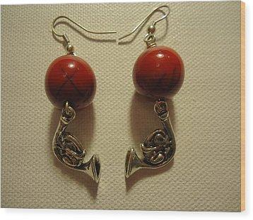 Red Rocker French Horn Earrings Wood Print by Jenna Green