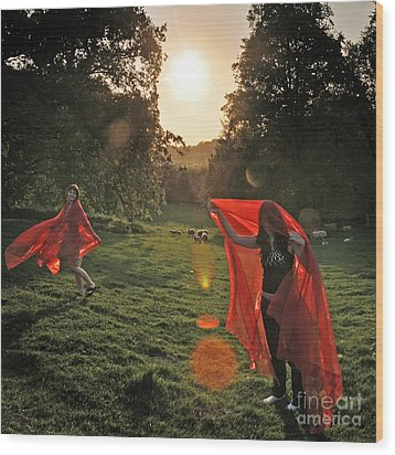 Red Witches Dance Wood Print by Angel  Tarantella