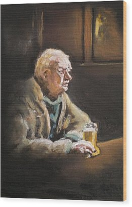 Reflecting Over A Pint Wood Print by Paul Mitchell