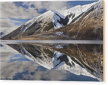 Reflection In Lake Pearson, Castle Hill Wood Print by Colin Monteath