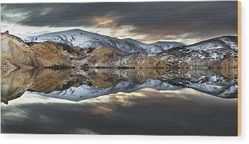 Reflections Of Cliffs On Blue Lake St Bathans Wood Print by Colin Monteath