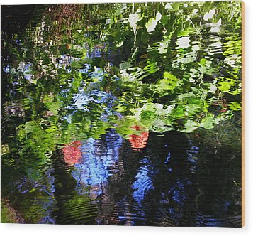 Reflections Of Fall In The Spring Wood Print by Judy Wanamaker
