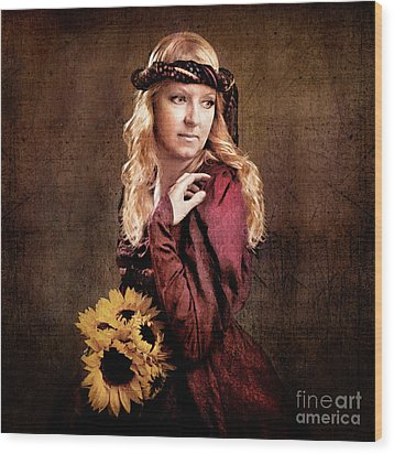 Renaissance Portrait Wood Print by Cindy Singleton