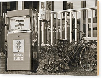 Retro Fuel For Life Wood Print by Brenda Giasson