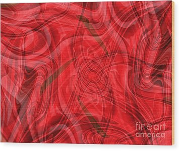 Ribbons Of Red Abstract Wood Print by Carol Groenen