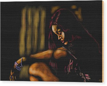 Rihanna Wood Print by Anthony Crudup