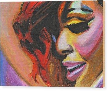 Rihanna Smile Wood Print by Siobhan Bevans