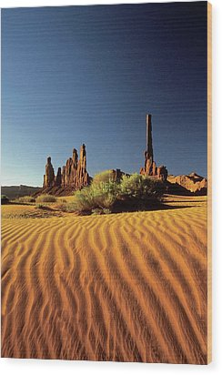 Ripples In The Sand, Monument Valley Tribal Park, Arizona, Usa Wood Print by Medioimages/Photodisc