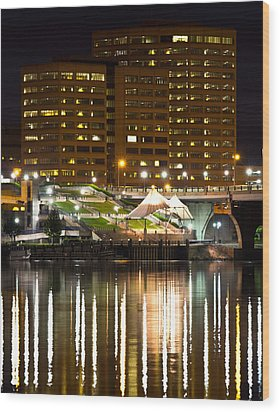 River Front At Night Wood Print by Frank Pietlock