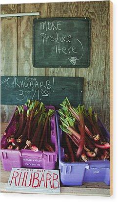 Roadside Produce Stand Rhubarb Wood Print by Denise Lett
