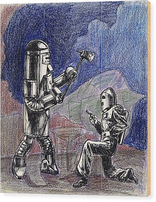 Rocket Man And Robot Wood Print by Mel Thompson
