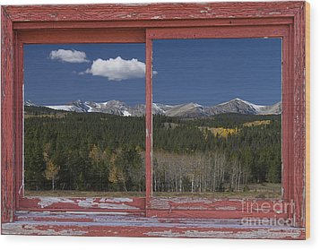 Rocky Mountain Autumn Red Rustic Picture Window Frame Photos Art Wood Print by James BO  Insogna