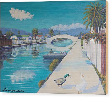 Romance On Retro Canal Wood Print by Frank Strasser