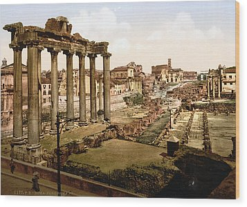 Rome, Ruins Of The Temple Of Saturn Wood Print by Everett