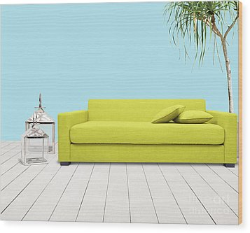 Room With Green Sofa Wood Print by Atiketta Sangasaeng