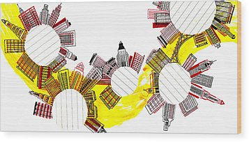 Rounded Cities Wood Print by Catarina Bessell