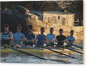 Rowers At Sunset Wood Print by Andrew  Michael