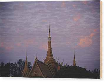 Royal Palace Rooftop At Dawn, Phnom Wood Print by Steve Raymer