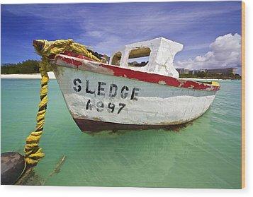 Rustic Fishing Boat Of Aruba II Wood Print by David Letts