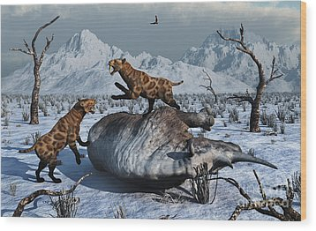 Sabre-toothed Tigers Battle Wood Print by Mark Stevenson