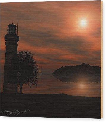 Sail At Dusk Wood Print by Lourry Legarde