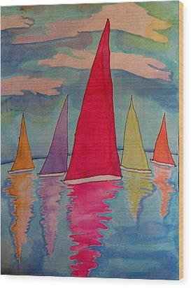Sailboats Wood Print by Yvonne Feavearyear