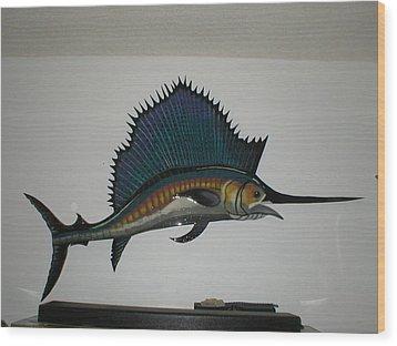 Sailfish Wood Print by Val Oconnor