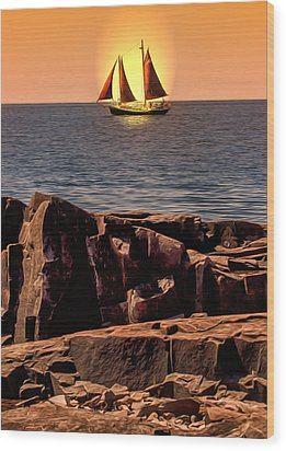 Sailing In Grand Marais Wood Print by Bill Tiepelman