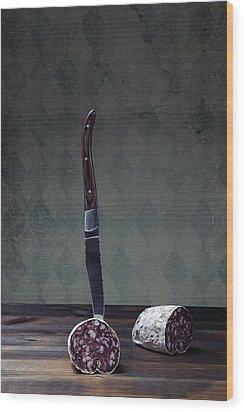 Salami Wood Print by Joana Kruse
