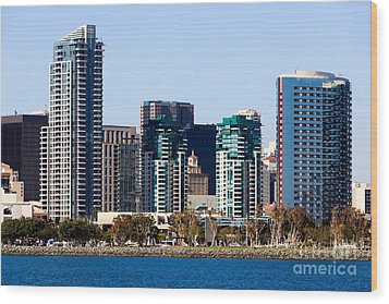 San Diego California Skyline Wood Print by Paul Velgos