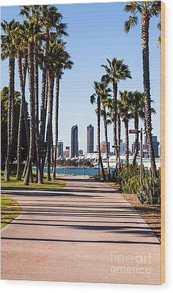 San Diego Skyline With Coronado Island Bayshore Bikeway Wood Print by Paul Velgos