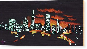 San Francisco Black Light Wood Print by Thomas Kolendra
