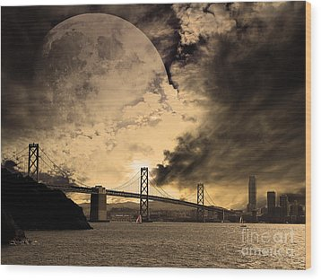 San Francisco Under The Moon Wood Print by Wingsdomain Art and Photography