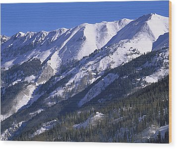 San Juan Mountains Covered In Snow Wood Print by Tim Fitzharris