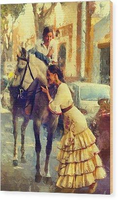 San Miguel Fair In Torremolinos Wood Print by Jenny Rainbow