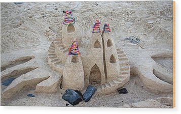 Sand Castle Wood Print by Karen Elzinga