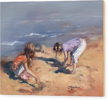 Sandcastles Wood Print by Catherine Marchand