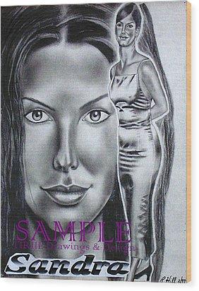 Sandra Bullock Wood Print by Rick Hill