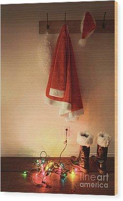 Santa Costume Hanging On Coat Hook With Christmas Lights Wood Print by Sandra Cunningham
