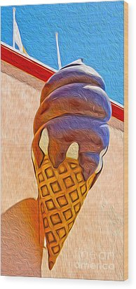 Santa Cruz Boardwalk - Giant Ice Cream Cone Wood Print by Gregory Dyer