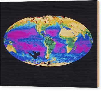 Satellite Image Of The Earth's Biosphere Wood Print by Dr Gene Feldman, Nasa Gsfc