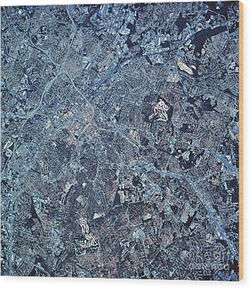 Satellite View Of Charlotte, North Wood Print by Stocktrek Images