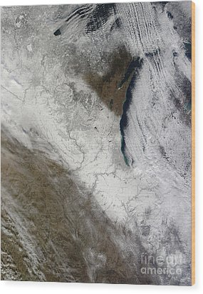 Satellite View Of Snow And Cold Wood Print by Stocktrek Images