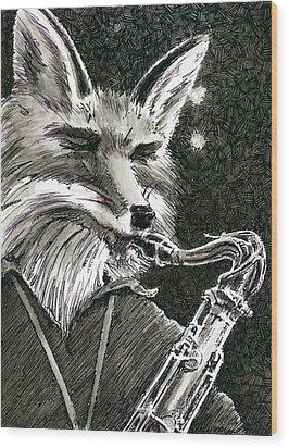 Sax Fox Wood Print by Scott Alberts
