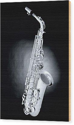 Saxophone On Spotlight Wood Print by M K  Miller
