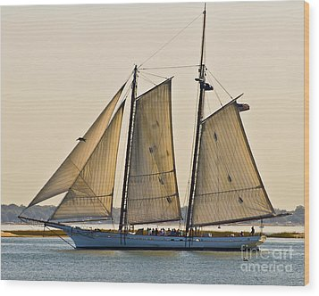 Scenic Schooner Wood Print by Al Powell Photography USA