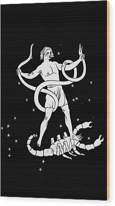 Scorpio And Ophiuchus Constellations Wood Print by