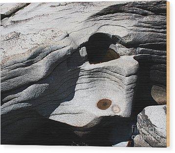 Sculpted Stone Wood Print by Juan Romagosa